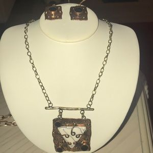 Cooper And goldtone abstract necklace and earrings